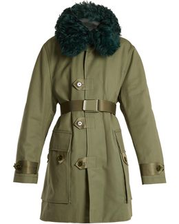 Cornel Shearling-collar Cotton-canvas Coat