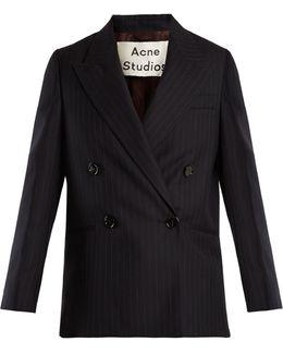 Jara Double-breasted Pinstriped Wool Jacket