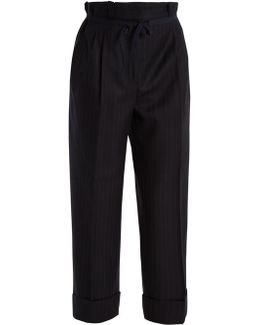 Tien Pinstriped Gathered-waist Wool Trousers
