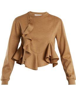 Ruffled-hem Wool-jersey Sweatshirt