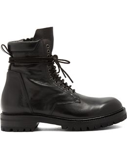 Lace-up Creased Leather Ankle Boots