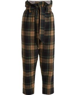 New Kung Fu Wool-blend Tartan Cropped Trousers