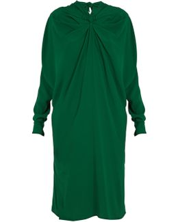 Ruched-front High-neck Crepe Midi Dress