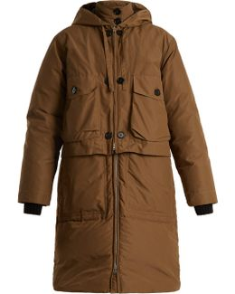 Double-layered Cotton-blend Gabardine Down Coat