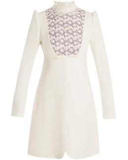 Floral Lace-trimmed High-neck Crepe Dress