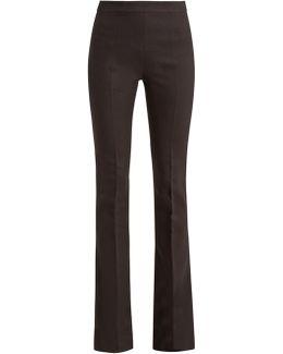 Kick-flare Crepe Trousers