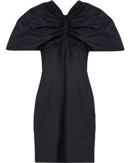 Structured-sleeve Wool Mini Dress