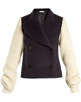 Double-breasted Contrast-sleeve Wool-blend Coat