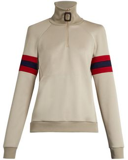 Striped-sleeve Half-zip Sweatshirt