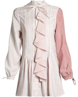 Ruffled-front Striped Tunic Top