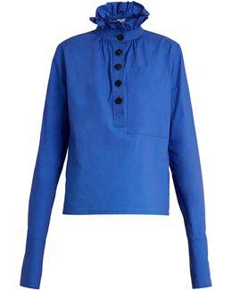 Ruffled-collar Long-sleeved Top