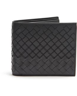 Intrecciato-stitched Leather Wallet