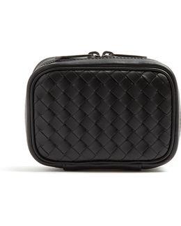 Intrecciato Leather Cufflink Case