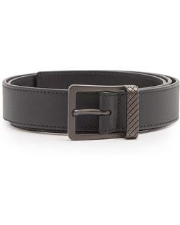 Intrecciato-embossed Leather Belt