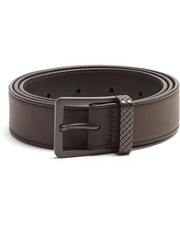 Intrecciato-engraved Leather Belt