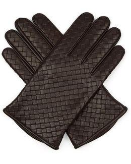 Intrecciato-leather Gloves
