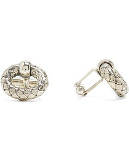 Intrecciato-engraved Oxidised-silver Cufflinks