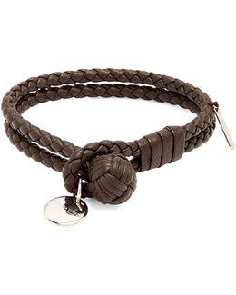 Intrecciato-woven Knot Leather Bracelet