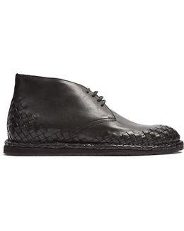 Intrecciato-trimmed Leather Desert Boot
