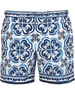 Majolica-print Swim Shorts