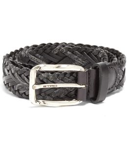 Woven Melange-knit And Leather Belt