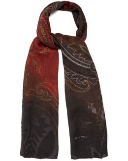 Paisley-jacquard Wool And Silk-blend Scarf