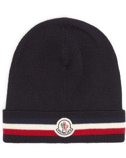 Striped Wool Beanie Hat
