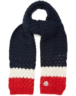 Navy, White And Red Chunky-Knit Scarf