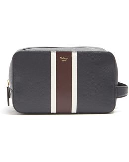 Striped Grained-leather Washbag