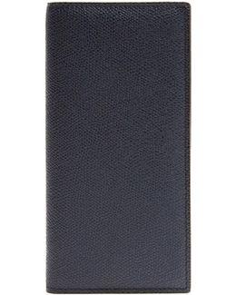 Vertical Bi-fold Grained-leather Wallet