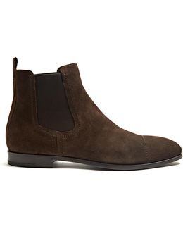 Topstitched Suede Chelsea Boots