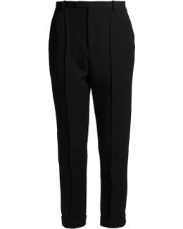 Jo High-rise Slim-leg Wool-twill Trousers