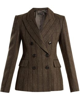 Kelsey Double-breasted Striped Wool-blend Jacket