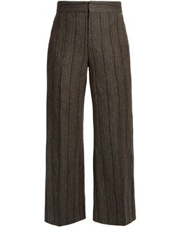 Keroan Striped Flared Cropped Trousers