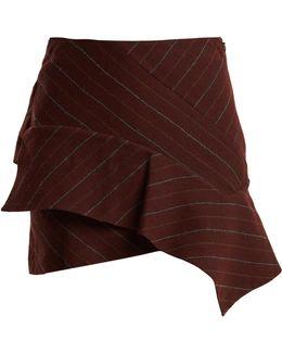 Kimura Striped Linen-blend Mini Skirt
