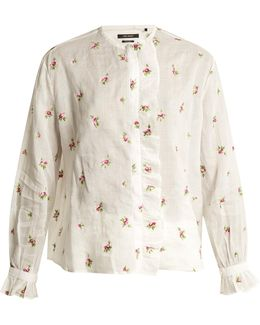 Uamos Flower-embroidered Lawn Top