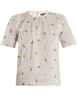 Uaraza Floral-embroidered Voile Top