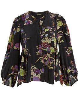 Ivia Floral-print Pleated Silk Blouse