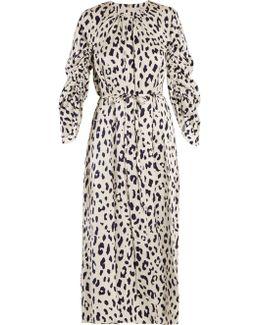 Cheetah-print Tie-waist Silk Dress