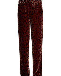 Cheetah-print Wide-leg Velvet Track Pants