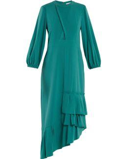 Savanna Asymmetric Ruffled Crepe Dress