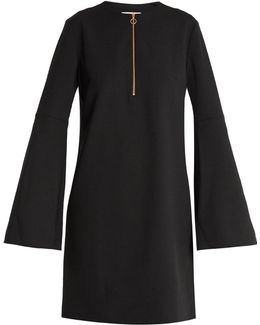 Zip-front Crepe Mini Dress