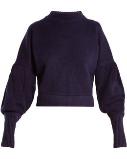 Pleated-sleeve Cashmere Sweater