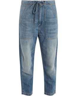 Tapered-leg Cotton-blend Cropped Jeans