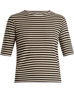 Striped Silk-blend Cropped T-shirt
