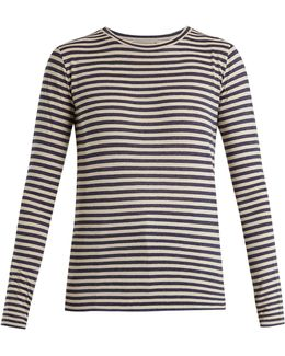 Striped Silk-blend Long-sleeved T-shirt
