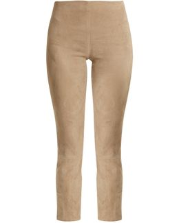 Cropped Suede Trousers