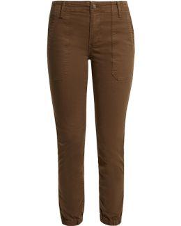 Slim-leg Stretch Cotton-twill Trousers