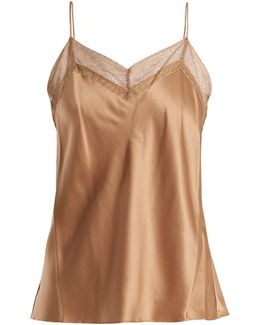 Lace-trimmed V-neck Silk Cami Top