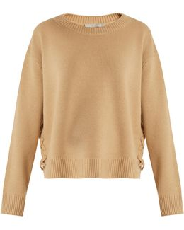 Lace-up Side Cashmere Sweater